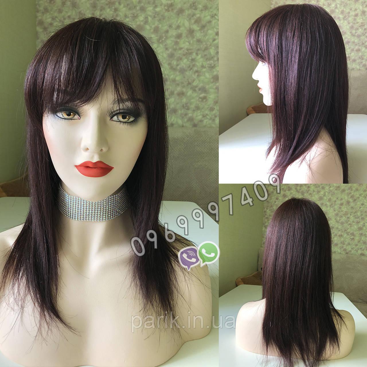 💎Натуральный женский парик баклажановый с чёлкой, натуральный волос 💎