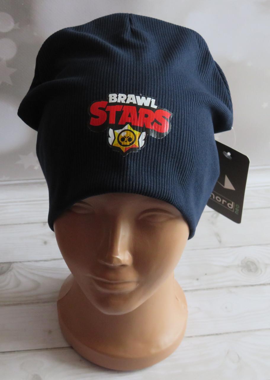 Дитяча трикотажна шапка Brawl Stars рубчик, темно-синя