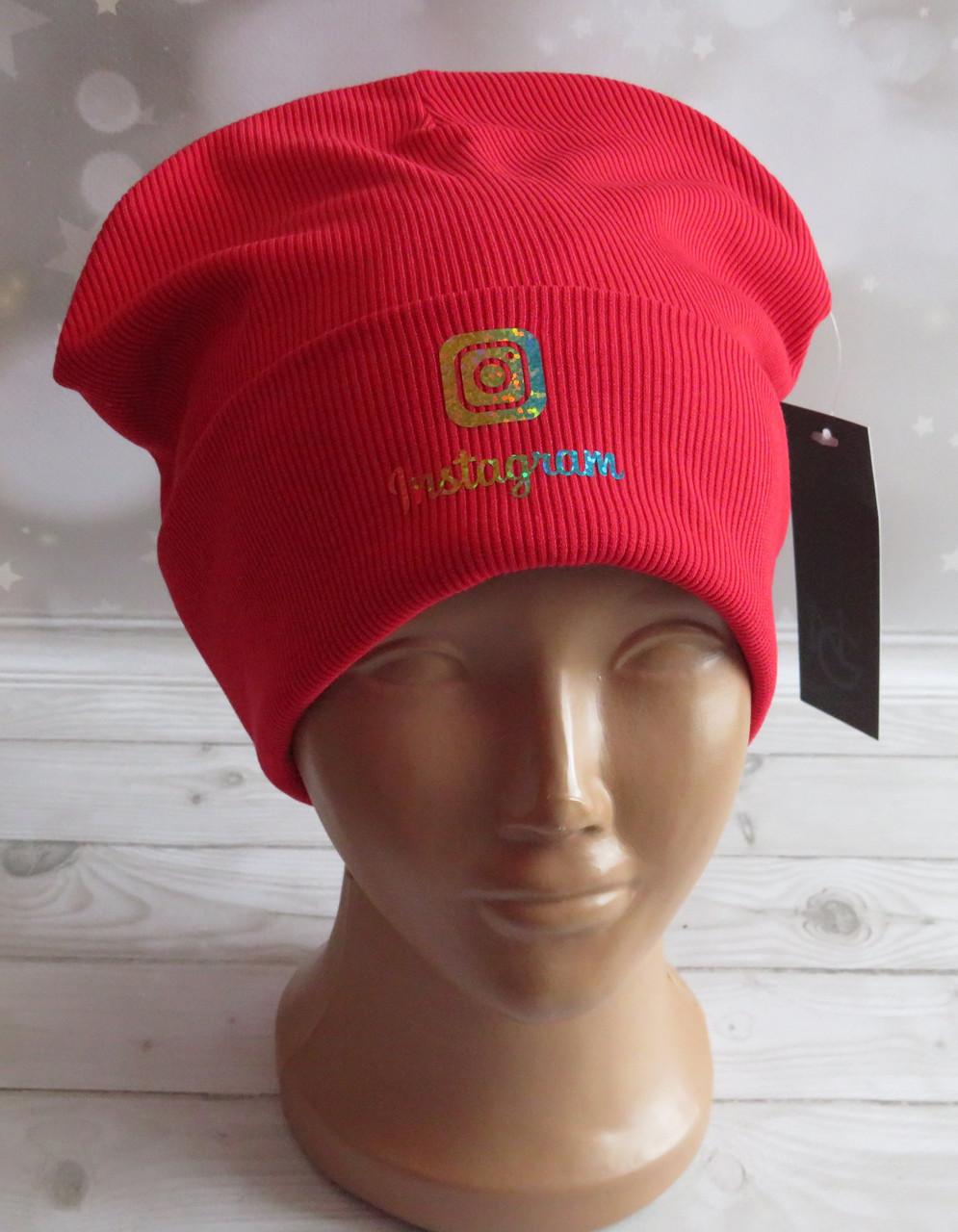 Детская трикотажная шапка Instagram с отворотом, красная
