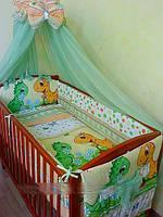 """Asik """"Динозаврики"""" комплект постельного белья в кроватку из 8 предметов"""