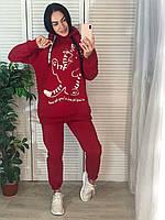 Модный молодежный спортивный костюм с начесом,красный, фото 1