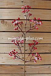 Искусственные ягоды - Заснеженные ягоды ветка, 66 см