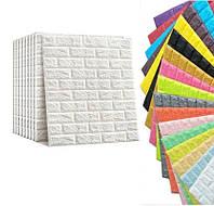 Самоклеющиеся 3D панели кирпич (декоративные обои) 700x770. Моющиеся, Серцифицированные. 3д плиты ПВХ для стен