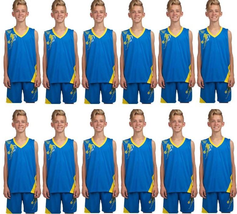 Комплект: 12 шт. Форма баскетбольная детская, подростковая BasketBall Unifrom голубо-желтый (LD-8081T-5)