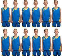 Комплект: 12 шт. Форма баскетбольная детская, подростковая BasketBall Unifrom голубо-желтый (LD-8081T-5), фото 1