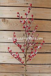 Искусственные ягоды - Заснеженные ягоды ветка, 67 см