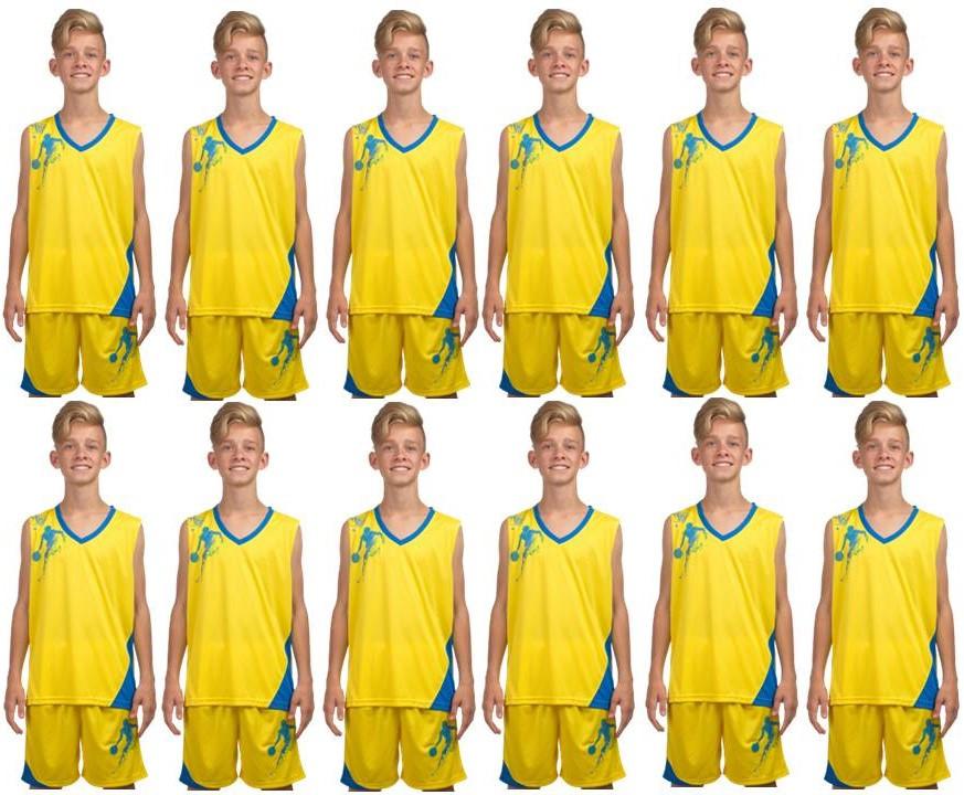 Комплект: 12 шт. Форма баскетбольная детская, подростковая BasketBall Unifrom жёлто-голубой (LD-8081T)