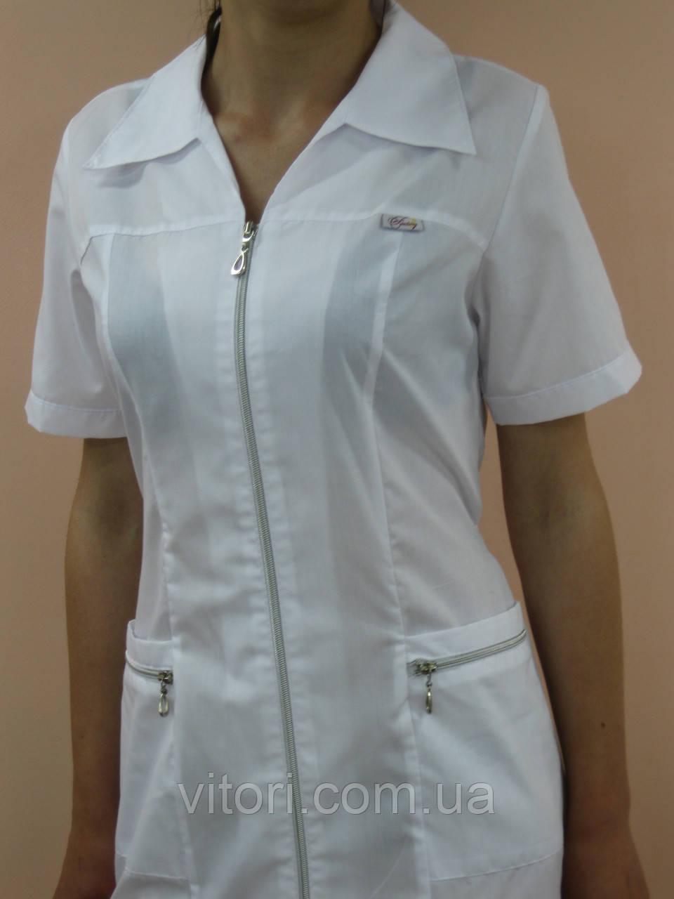 Медицинский женский халат Витори хлопок на молнии короткий рукав
