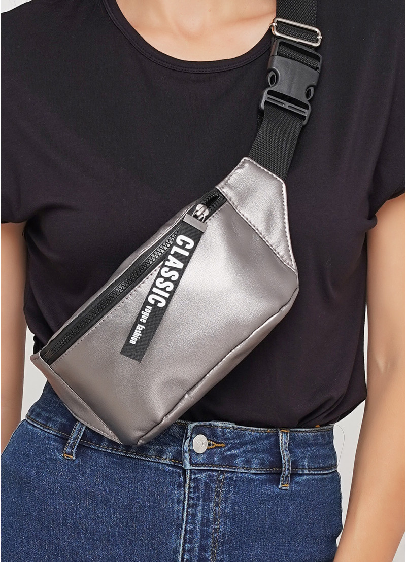 Женская сумка на пояс, серебристая бананка напоясная, через плечо серебро экокожа (качественный кожзам)