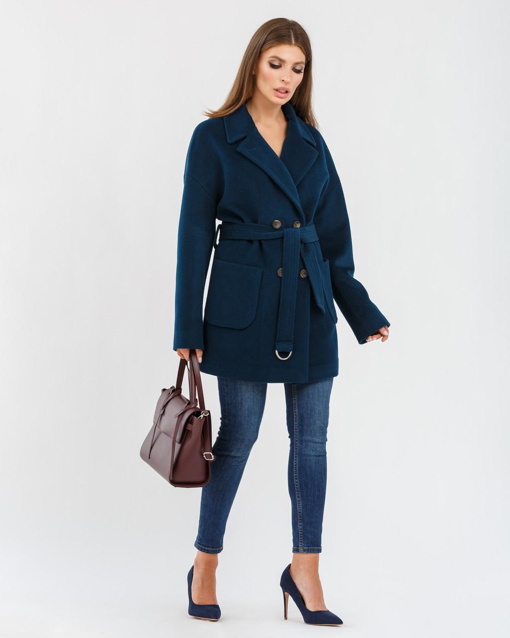 """Модное женское короткое пальто с отложным воротником """"елочка"""" 40,42,44 размер"""