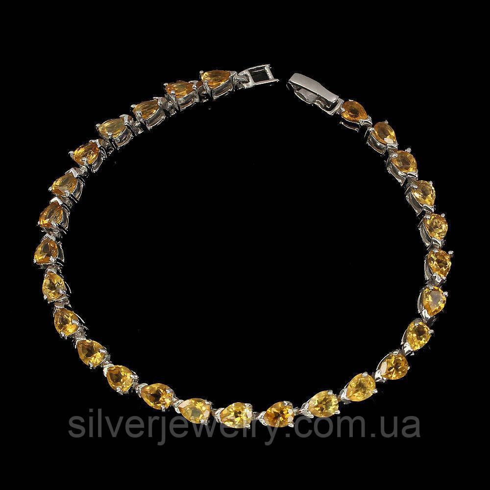 Серебряный браслет с ЦИТРИНОМ (натуральный), серебро 925 пр.