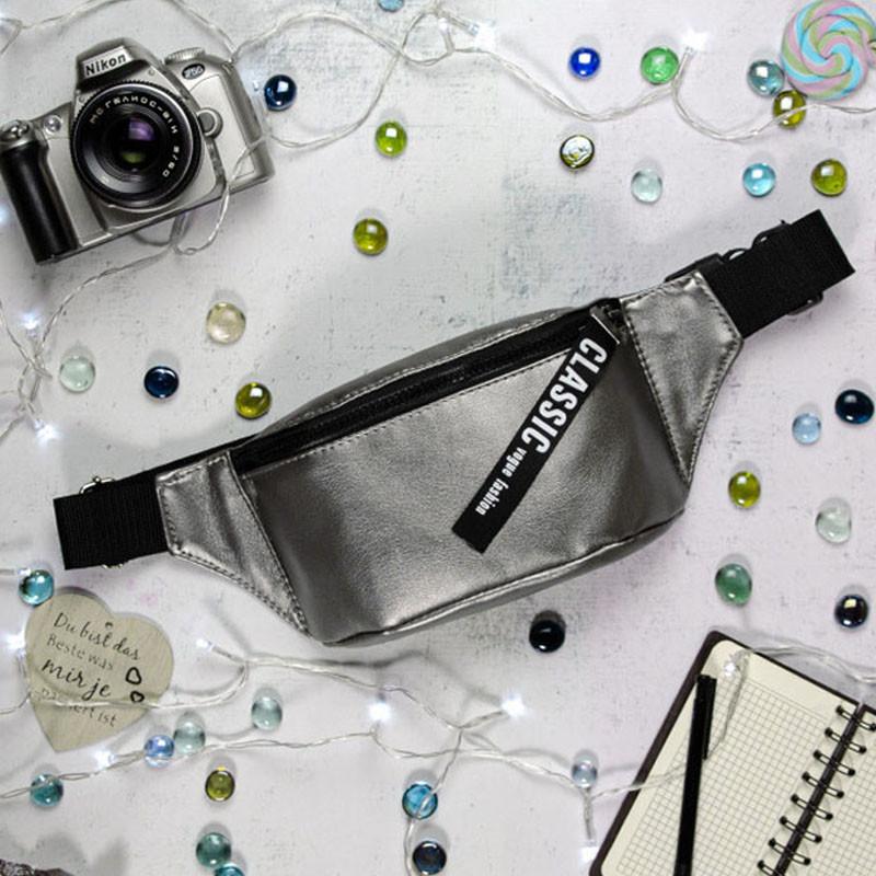 Женская сумка бананка на пояс темное серебро металлик, напоясная, через плечо, экокожа (качественный кожзам)