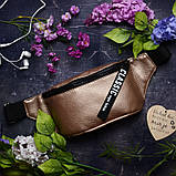 Женская сумка бананка на пояс темное серебро металлик, напоясная, через плечо, экокожа (качественный кожзам), фото 5