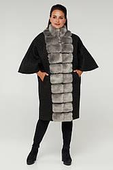 Пальто-пончо женское демисезонное, под норку, батал 688 | 46, 48, 50, 52, 54, 56, 58, 60 размеры