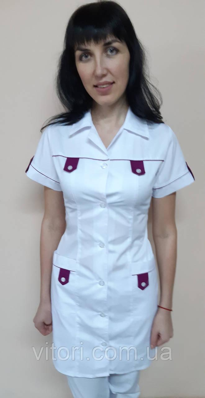 Медичний жіночий халат Танго бавовна короткий рукав