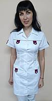 Медичний жіночий халат Танго бавовна короткий рукав, фото 1