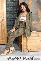 Брючный костюм в полоску - пиджак на запах под пояс и брюки в батальных размерах 1BR782, фото 1