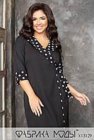 Платье миди на запах с английским воротником и рукавами 7/8 в батальных размерах 1BR779, фото 1