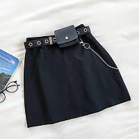 Женская короткая юбка из костюмки с цепочкой и кошельком 68JU431, фото 1