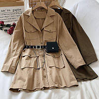 Платье - рубашка из коттона с ремнем кошельком и накладными карманами (р. 42-44) 68PL1612, фото 1