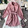 Вельветовое платье рубашка с длинным рукавом и поясом (р. 42-46) 77PL1616