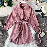 Вельветовое платье рубашка с длинным рукавом и поясом (р. 42-46) 77PL1616, фото 1