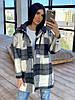 Женское короткое пальто - рубашка в крупную клетку из кашемира (р. 42-46) 66PA284Е