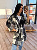 Кашемировое женское пальто в клетку с поясом и карманами р. 42-46 66PA287Q