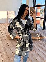 Кашемировое женское пальто в клетку с поясом и карманами р. 42-46 66PA287Q, фото 1