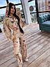 Женский костюм тройка с брюками клеш, топом и мастеркой с капюшоном 66KO1394Q