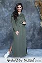 Cпортивное платье в пол с капюшоном, карманами и боковыми разрезами в больших размерах 1ba789, фото 5