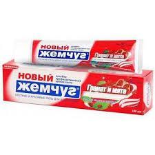 Зубная паста Новый жемчуг  100гр  Гранат+Мята+Отбелка (4600697171364)