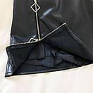 Черная кожаная юбка женская с молнией сбоку выше колена 68si433, фото 2