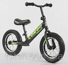 """Велобег Беговел для детей 36906 CORSO, надувные колеса 12"""" Салатовый  Регулир высота сиденья/руля"""
