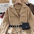 Платье - рубашка из коттона с ремнем кошельком и накладными карманами (р. 42-44) 68py1612, фото 2