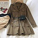 Платье - рубашка из коттона с ремнем кошельком и накладными карманами (р. 42-44) 68py1612, фото 3