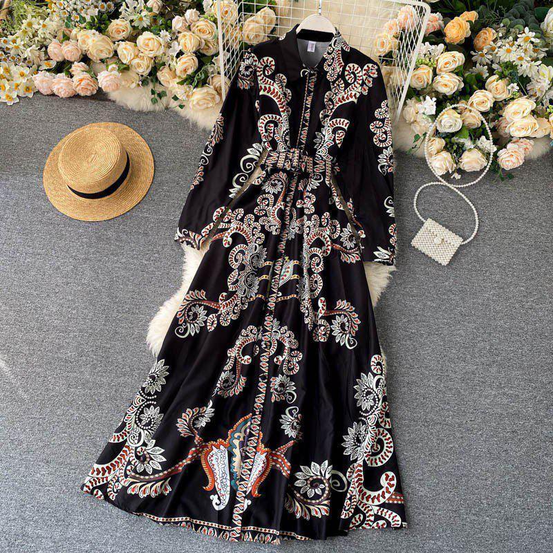 Длинное платье - рубашка на пуговицах с восточным принтом, пояс в комплекте (р. 42-46) 68py1614