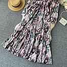 Длинное платье - рубашка на пуговицах с восточным принтом, пояс в комплекте (р. 42-46) 68py1614, фото 3