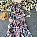 Длинное платье - рубашка на пуговицах с восточным принтом, пояс в комплекте (р. 42-46) 68py1614, фото 4