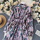 Длинное платье - рубашка на пуговицах с восточным принтом, пояс в комплекте (р. 42-46) 68py1614, фото 6