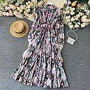 Длинное платье - рубашка на пуговицах с восточным принтом, пояс в комплекте (р. 42-46) 68py1614, фото 7