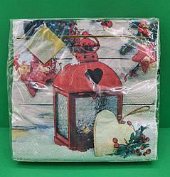 Салфетки трехслойные ЗЗхЗЗ 20шт Рождественский фонарь (1 пач)