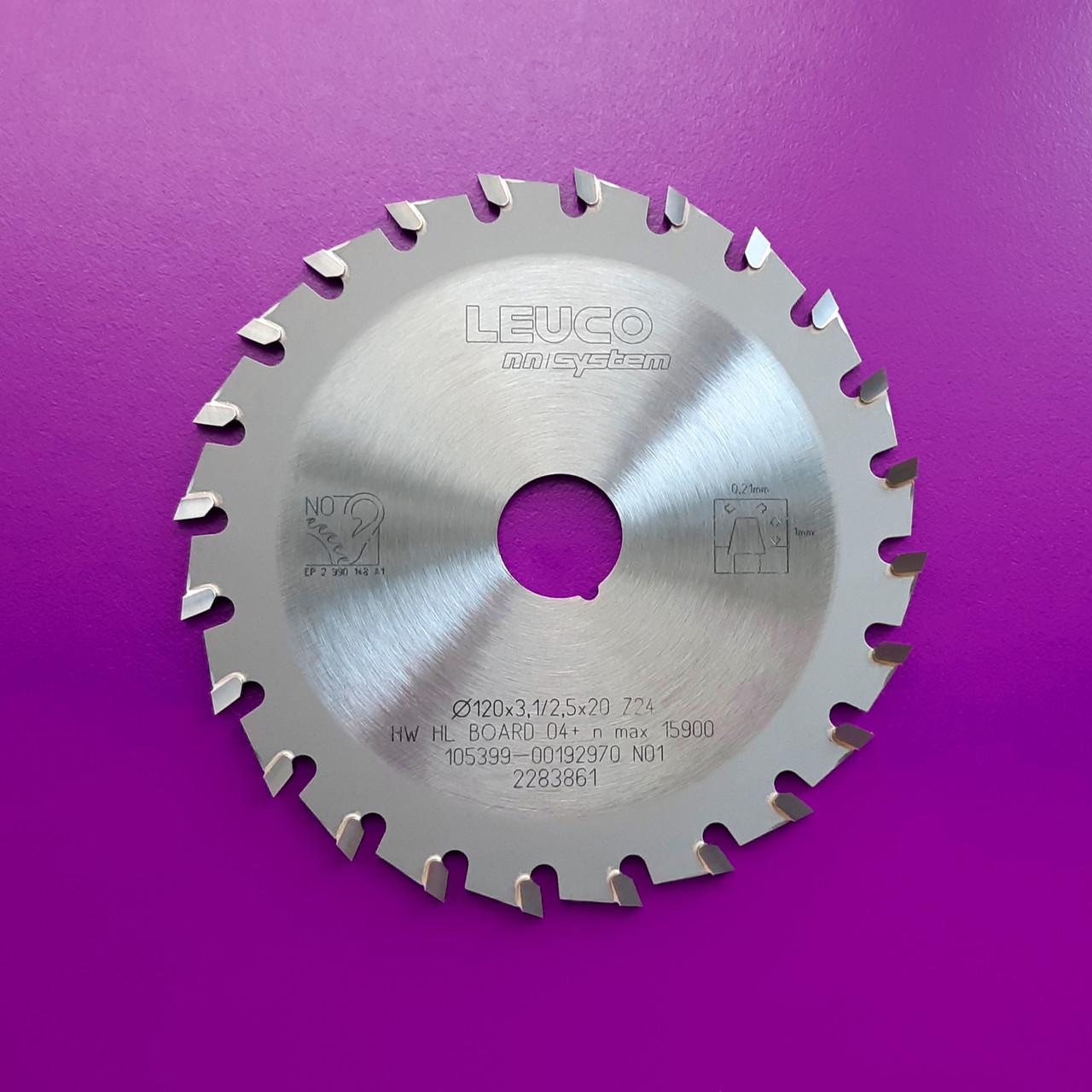 120x3,1-3,9x22, Z=24 Однокорпусная подрезная дисковая пила Leuco - nn-System на форматно-раскроечный станок