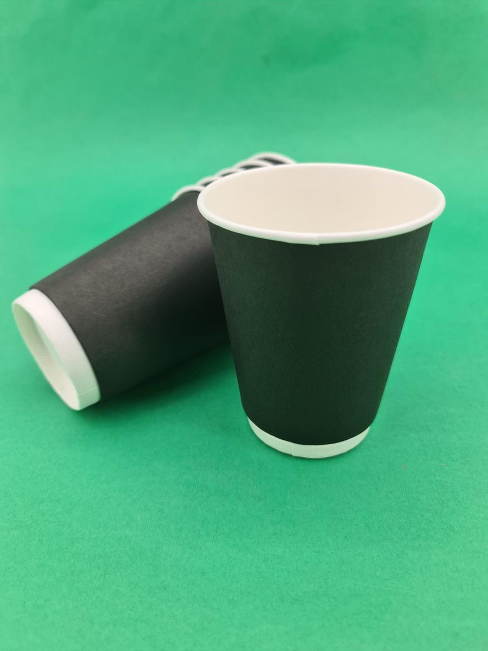 Стакан картонний 2х шаровий чорний 400мл (20 шт)