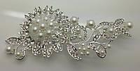 Свадебные гребни с искусственным жемчугом в изумительном цветке. Гребни для волос с камнями. 196