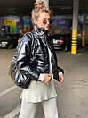 Женская демисезоннная кожаная куртка на утеплителе с воротником стойкой (р. 42, 44, 46) 83kr444, фото 2