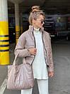 Женская демисезоннная кожаная куртка на утеплителе с воротником стойкой (р. 42, 44, 46) 83kr444, фото 4