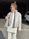 Женская демисезоннная кожаная куртка на утеплителе с воротником стойкой (р. 42, 44, 46) 83kr444, фото 5