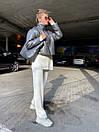 Женская демисезоннная кожаная куртка на утеплителе с воротником стойкой (р. 42, 44, 46) 83kr444, фото 7