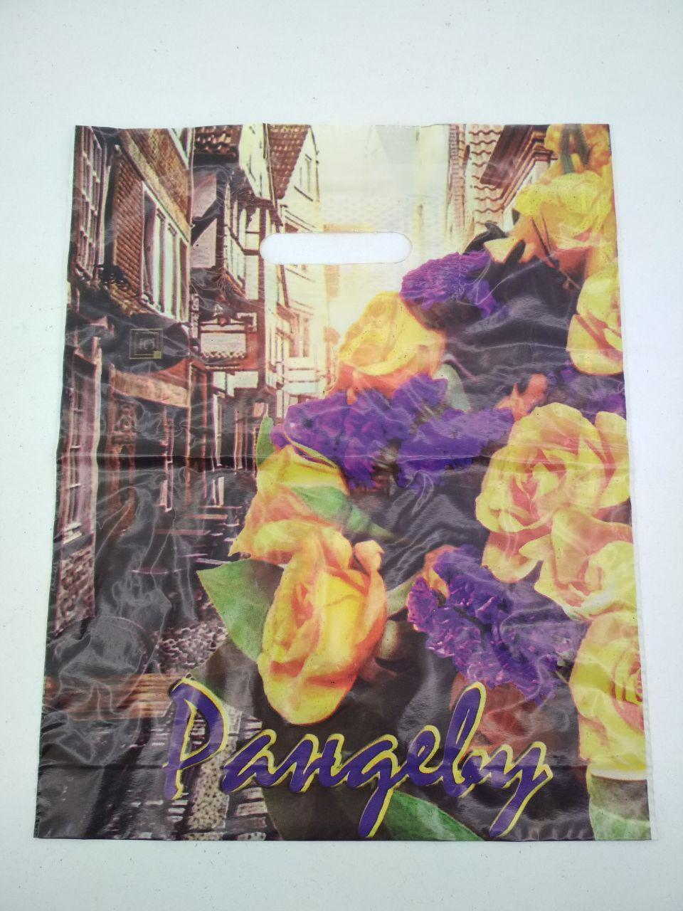 """Пакет з прорізною ручкою (30*37!3) Квіти """"Рандеву"""" (50 шт)"""